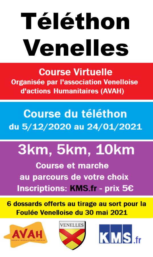 Affiche Courses virtuelles téléthon Venelles
